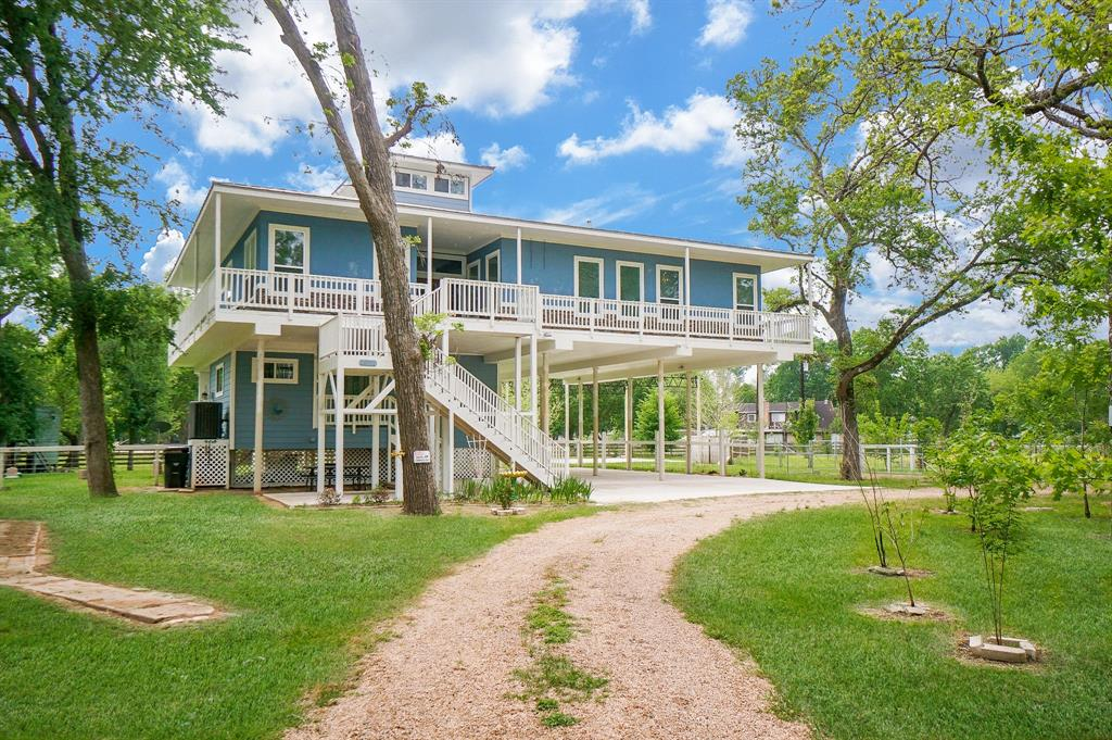 Beautiful home on 2 acres in Simonton, Texas. Home has been built up on piers and includes 3 beds 3 full baths, media/game room located on its own floor; elevator; guest suite and HUGE storage/craft/office space; walk in pantry; open concept living with TONS of natural light. Huge metal shell on a slab ready to be enclosed for a barn or shop; small storage shed/workshop; covered parking and wrap around porch with beautiful views! Call to schedule your appointment today!