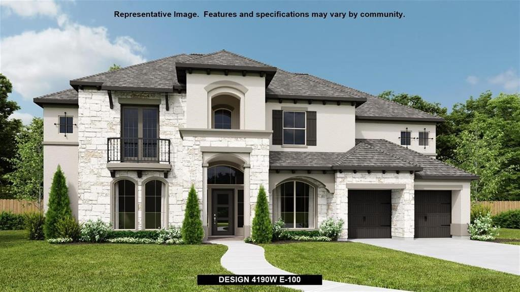 PERRY HOMES NEW CONSTRUCTION! Two-story entry highlights curved staircase. Home office and formal dining room frame entry. Two-story family room opens to island kitchen and morning area. Kitchen features walk-in pantry and Butler's pantry. Family room features corner fireplace and angled wall of windows. First-floor primary suite includes bedroom with curved wall of windows. Dual vanities, garden tub, separate glass-enclosed shower and two walk-in closets in primary bath. First-floor guest suite includes private bath. Upstairs highlights a game room, media room and Hollywood bath. Abundant storage space adds to this generous five-bedroom home. Three-car garage with porte-cochere.