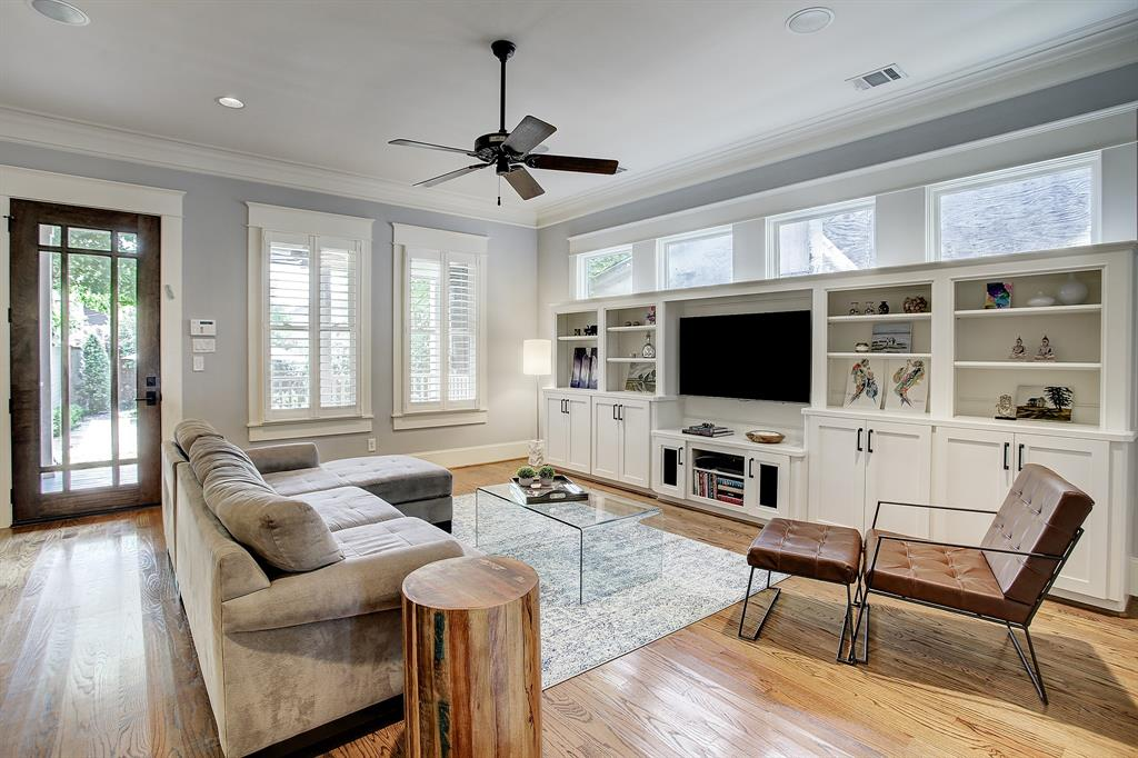 This casual living space meets every need including storage, shelf space and a perfect spot for the TV (this one is 55
