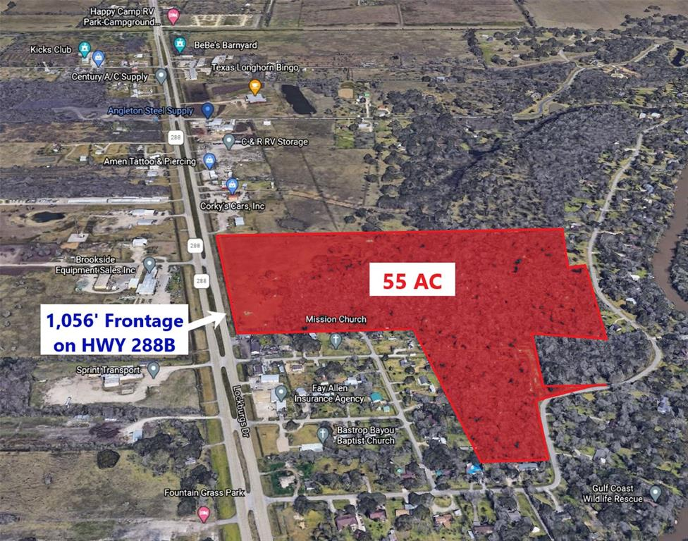 GREAT INVESTMENT OPPORTUNITY - 54.738 acres of land just outside the City of Angleton - Great visibility and access from Highway 288B - 1,056' of SH 288 B frontage - 8 miles from Lake Jackson Chemical Plants with lots of jobs in the area - Broker has familial relationship with Seller (Brother-In-Law)