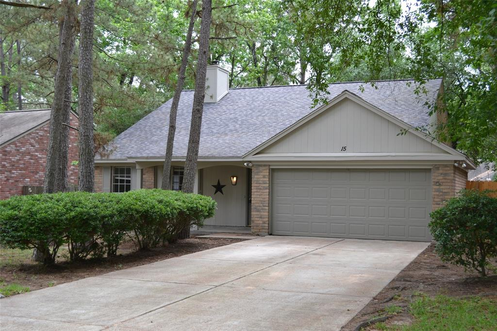 Stunning updates throughout the home.  Tile floors for low maintenance. Granite counters in kitchen and baths. Master Suite is spacious and open.  Two additional bedrooms with shared bathroom.  Located in central Woodlands with great schools and easy access to major thoroughfares, retail and dining.