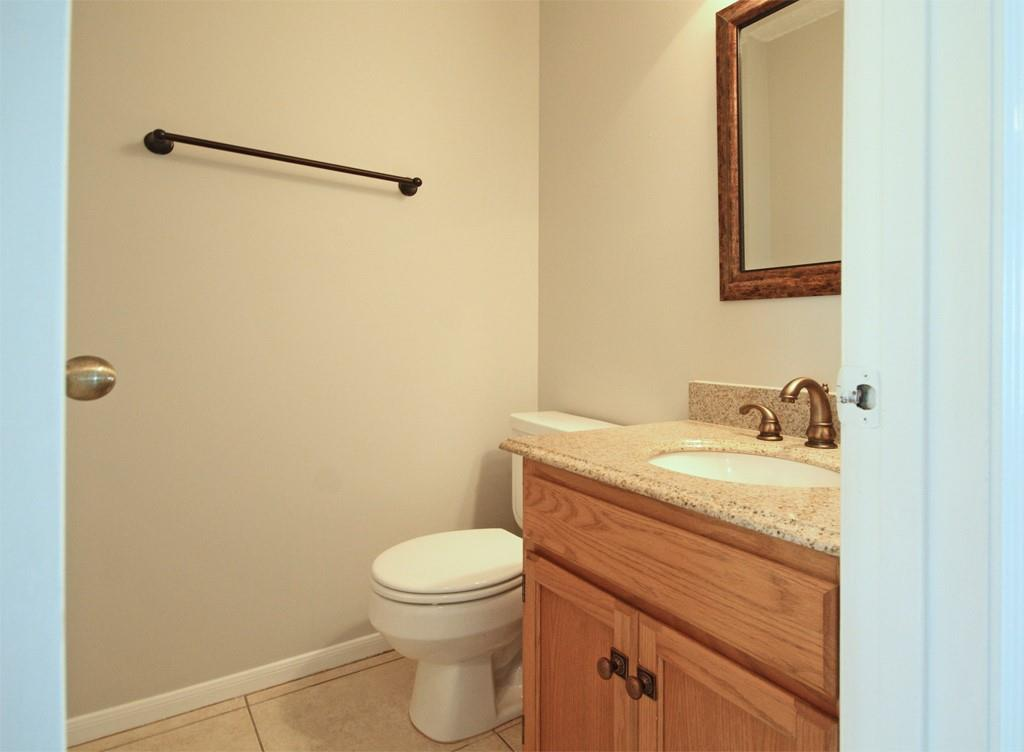 Half bath on the first floor is perfect for guests.