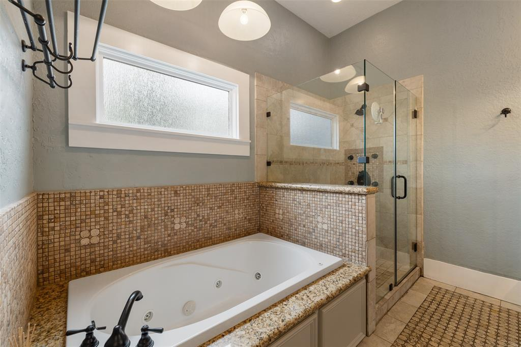 Primary bath and shower- this room is really spacious for the Heights.