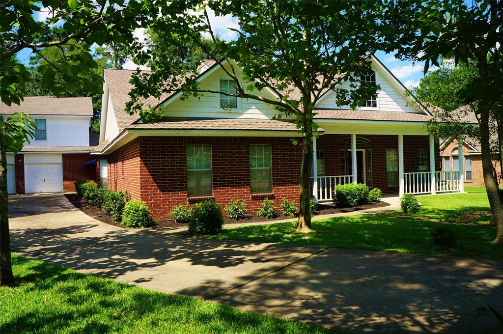 """Large Open rooms throughout with High Ceilings. Kitchen is open to family living with 42"""" kitchen cabinets, many storage drawers, island with 5 burner gas cooktop, built-in self-cleaning oven. Granite countertops! Built-in desk. Huge walk-in pantry! Study and/or Living Room plus Dining room. Breakfast area plus breakfast bar. Gas fireplace. Built-ins including in the closets. Jack and Jill secondary bathroom with hall access. Covered 34' x 5' front porch. Washer, dryer and refrigerator will stay if needed. Oversized 3 car garage. Extra room (31x21) room is above the garage for use or storage. Yard maintenance provided. The Woodlands schools! Quick access to shopping, hospitals, Lone Star College. Wonderful family neighborhood."""