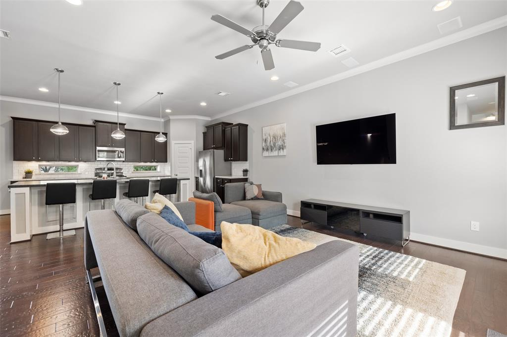 The living spaces feature upgraded smart lighting.