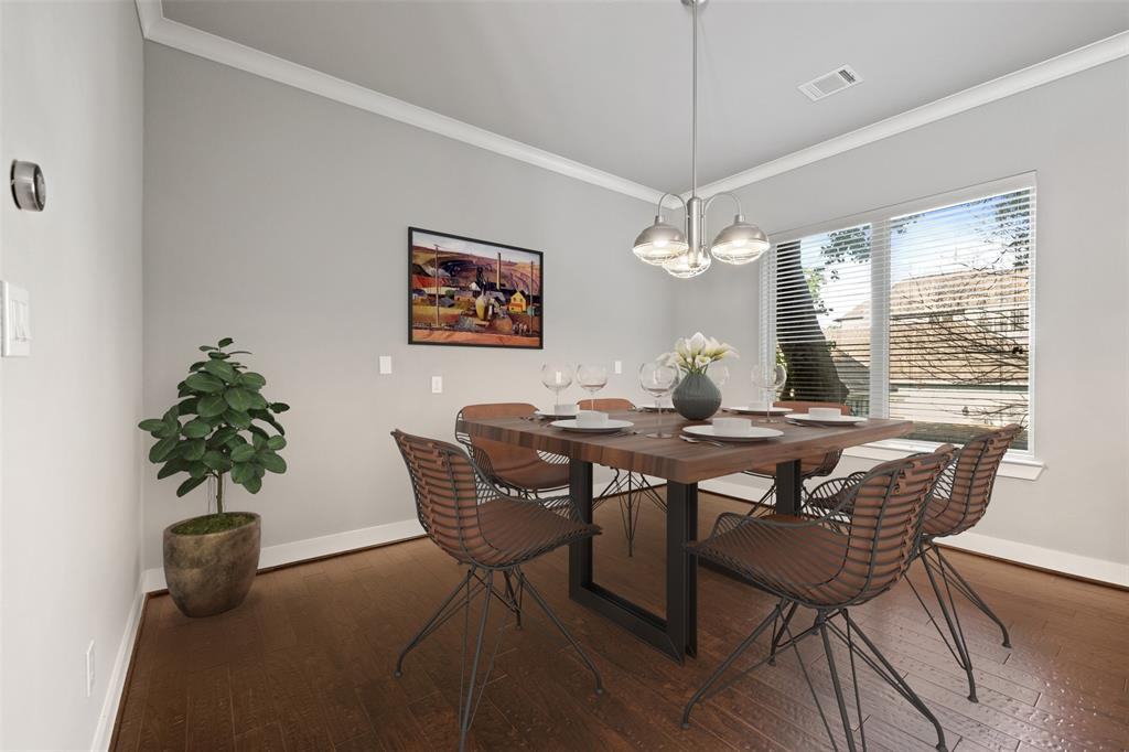 The dining space adjacent to the kitchen is large enough to fit a six or eight person dining table.