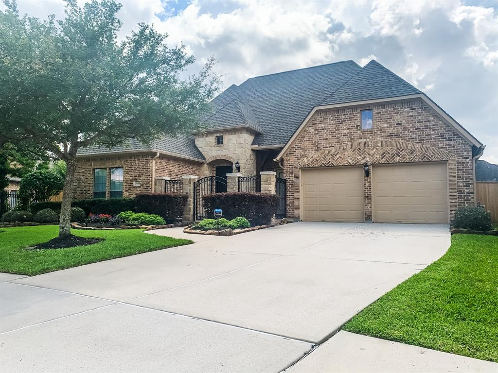 Rare Find! This Stunning 1.5 story home, located in the gated Lakes of Cypress Forest subdivision, leaves nothing to be desired. Updated kitchen features walk-in pantry, oversized island, soft closing drawers/cabinets and breakfast area. So much space for entertaining in Formal Dining Room, Family Room and Flex Room that adjoins Primary Bedroom. Work from home in the study/office. Beautiful wood look tile throughout all common areas. Primary Suite features separate tub and shower, double sinks, and walk-in closet with built-ins and vanity area. All bedrooms located downstairs. Media Room located upstairs. Recently installed 25 year warranty roof (February 2021) and fence (May 2021). Escape to your own outside retreat featuring saltwater pool/spa and wraparound covered patio. Zoned to Klein ISD schools. Located conveniently to I-45 and the Grand Parkway!