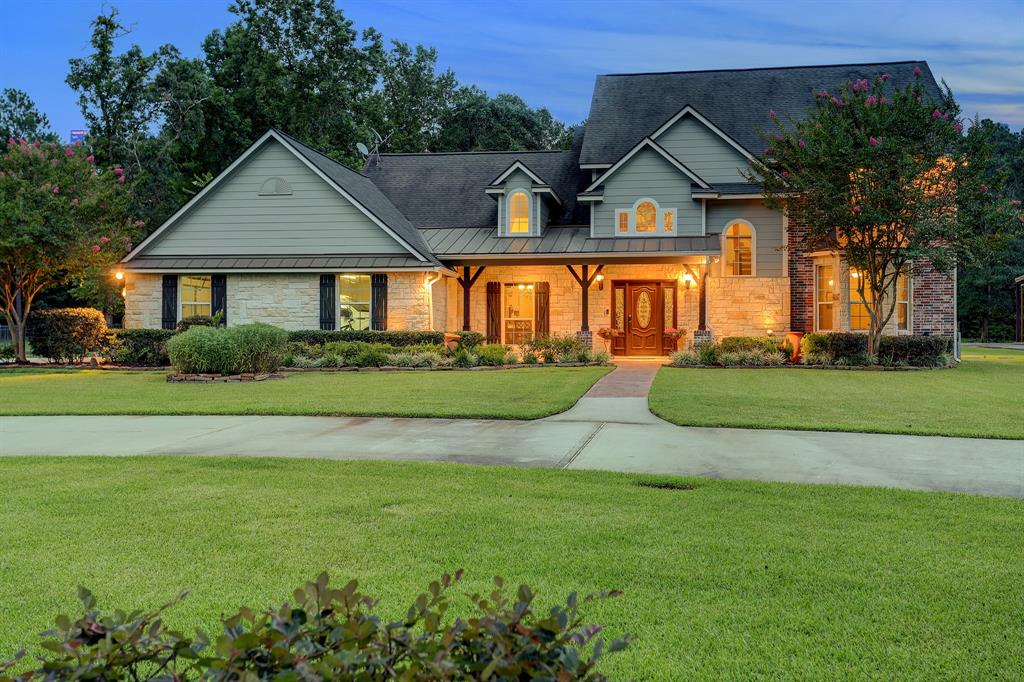 Beautiful 4 bedroom/ 3.5 bath home located on 8.5 acres in Montgomery. Included on property is a small pond, a fenced raised garden area, a workshop, RV parking, a barn, additional air conditioned building, dog kennels, pool, spa and fire pit. The Workshop is 30' x 40' with 15' covered area on each side. The barn is 45' x 60' under roof. The additional building is 23' x 14.5', air conditioned w/a sink, perfect for a home office/business, craft or exercise room. Home is located within a 5 min drive to Lake Creek High School and 8 min to Oak Hills Jr High and Keenan Elem. Entry has high ceilings with custom art accents. Primary and additional bedroom downstairs. See through gas log fireplace accenting both the living and breakfast area. Kitchen has lots of cabinet storage, including spice rack pull outs, double oven, gas cooktop and huge walk in pantry. Oversized 3 car garage. Etc, etc, etc. This beautiful home will not last long. Seller requires a leaseback until 6/15/2022.