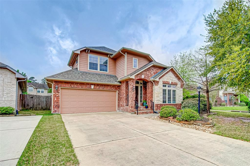 Great neighborhood located close to I-45 and 99.  Many restaurants and shopping areas nearby including Hughes Landing, Market Street, Waterway and the Woodlands Mall.  Well maintained home located on a corner lot of Grogan's forest Subdivision. First floor has wood tile flooring.  Kitchen comes with stainless steel appliances. Island with breakfast bar and granite countertops. Natural light and lots of windows throughout. Washer, dryer and refrigerator are included. Primary bedroom located on the 1st floor. additional bedrooms and game room on 2nd floor. 2 car garage attached Backyard has a covered patio and it's great for entertaining