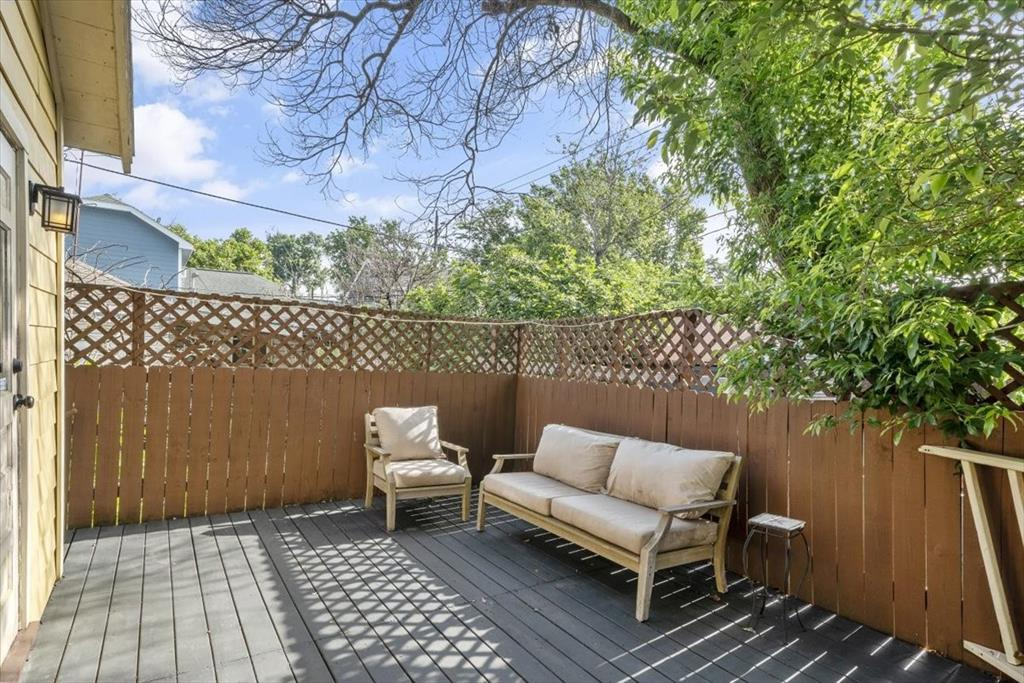 The raised back deck is attractive and functional. It's so pleasant to be out there when the weather permits.