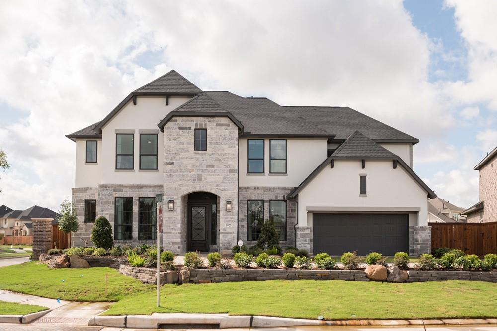 Stunning decorated model home with extensive landscaping on a corner homesite. Be greeted by the welcoming foyer and a floor-to-ceiling fireplace in the great room. The dream kitchen comes with stainless appliances, double ovens, a refrigerator, Silestone countertops with a waterfall edge, herringbone backsplash, large pantry, under cabinet lights, and more. Glass sliders from the breakfast area open to the extended covered patio.  The backyard features a covered pergola, and a covered patio, including a wood soffit ceiling. Relax in the luxurious primary suite featuring glass sliders leading to the covered patio, a free standing tub, and spacious closet. Upstairs is fun central with a game room, media room, and hidden storage room. Finished with wood flooring and upgraded Mohawk carpet, this former model home has so many upgrades! All model furnishings (excluding TVs) are included. A washer and dryer are included with the sale of the home but not the ones shown in the model photos.