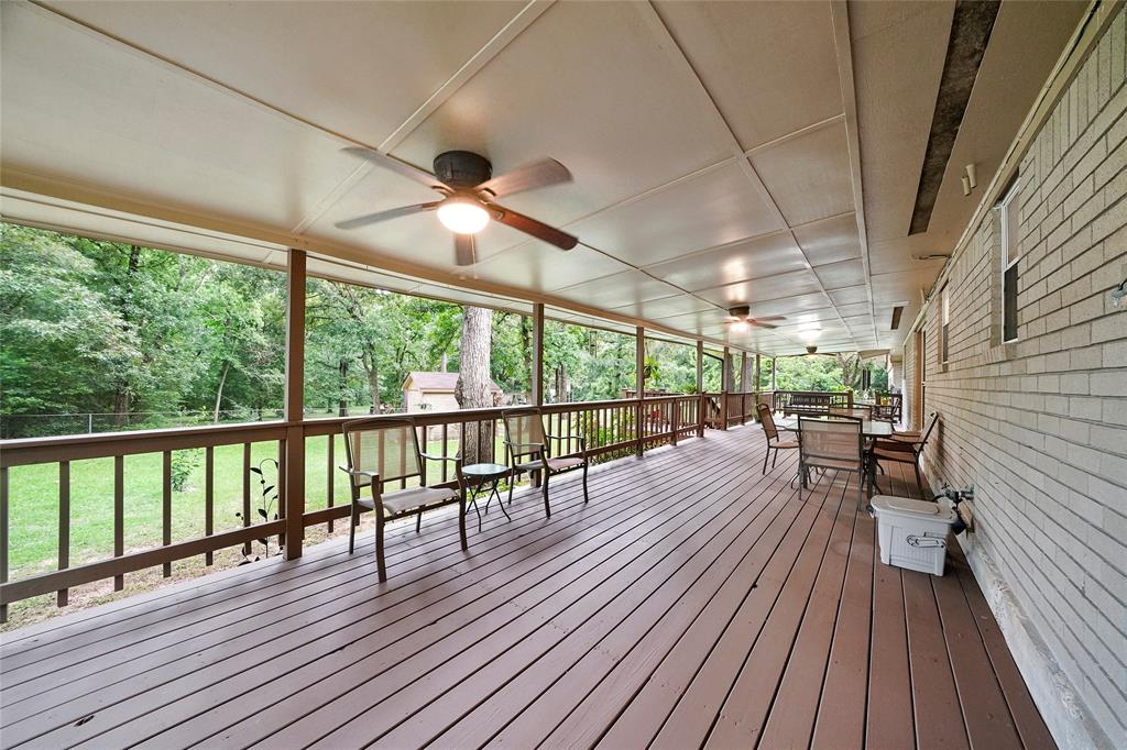 The large covered patio makes for a great space for entertaining or relaxing in the afternoon.