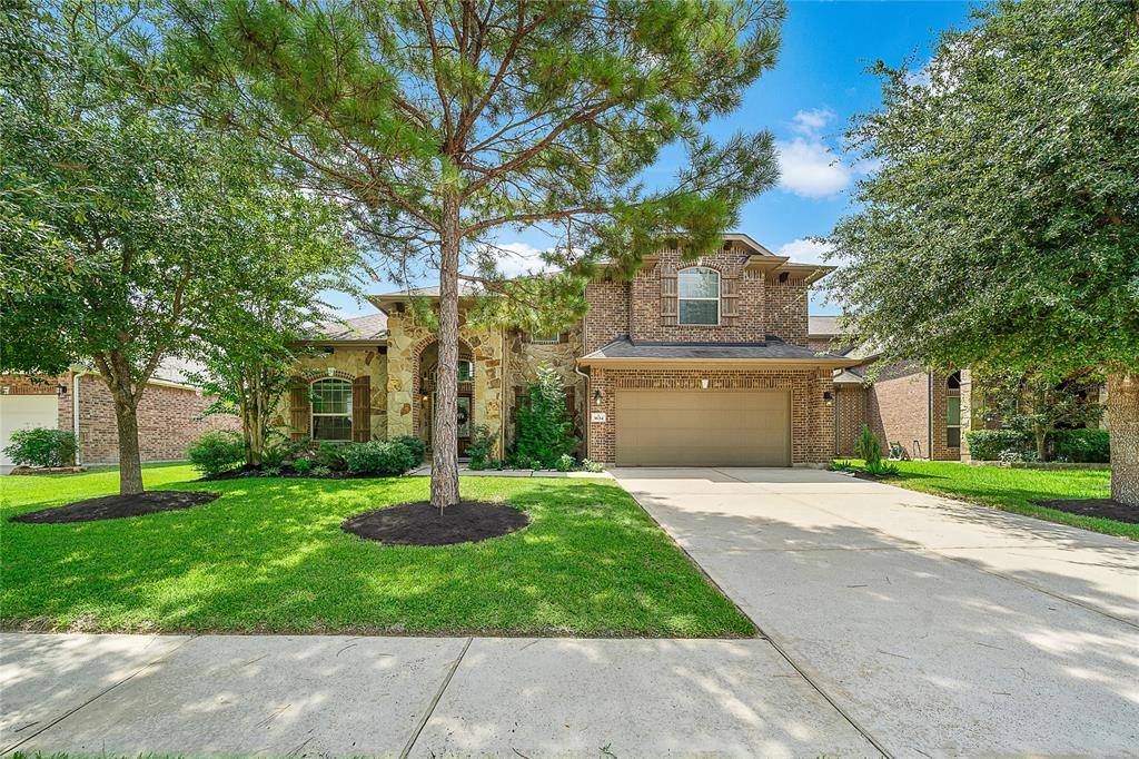 Stunning 2 story home! Located in Harmony Creek, a 24/7 manned gated community, featuring 2 pools, numerous parks, 2 splash pads , walking trails , tennis courts, basketball courts, fitness center and clubhouse.  The home offers a beautiful open entry way, with a cascading stair case which leads to the second floor opening to the game room  as well as media room, over looks the main living space.  Water softener, reverse osmosis in the kitchen, solar panels, and hand-craped hardwood floors, just to mention a few of the fantastic features this home has to offer!  Tri ceilings in breakfast area and primary bedroom.  Two of the 3 bedrooms upstairs adjoined by a holly-wood style bathroom.  Crown molding throughout.  Study is spacious with French doors.  Laundry room complete with cabinets and folding space.  Fabulous patio accented by a nice sized backyard, with mature beautiful trees.  Oversized garage lined with shelving.  One owner.  A MUST SEE!  Don't let this one get away!