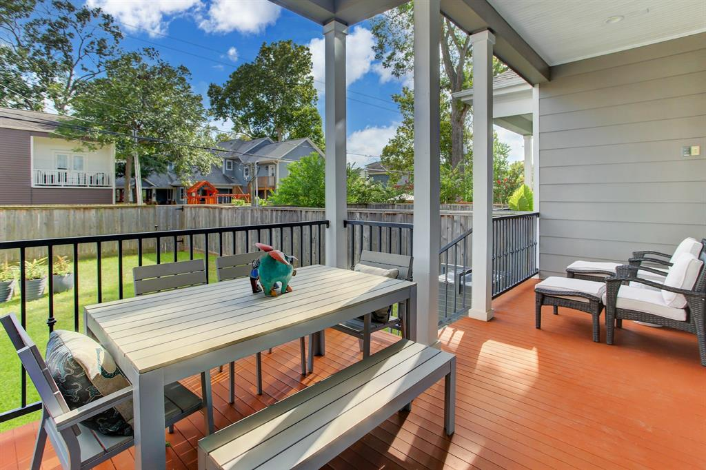 With cooler Fall tempertures on the horizon, enjoy your outside space on a covered porch with seating and dining space.
