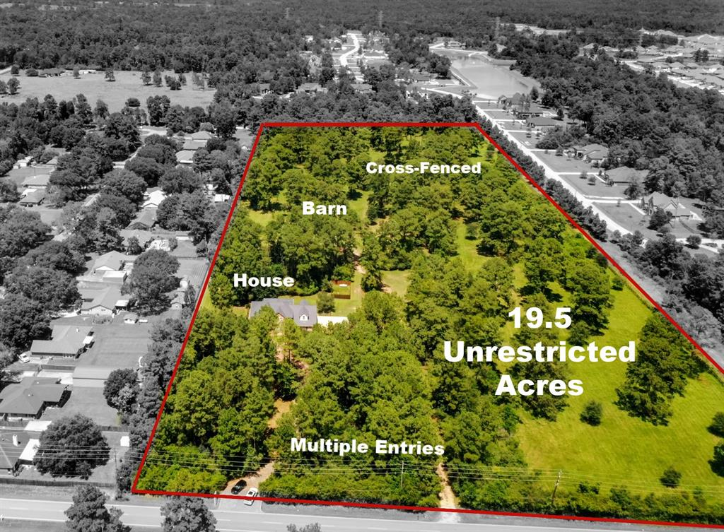 LOCATION, LOCATION, LOCATION! Enjoy over 19.5 UNRESTRICTED acres. This custom built 2 story brick home offers 4 bedrooms, 4 bathroom, 4 car garage, barn surrounded by trees, 19+ acres of cross-fenced property to create you own oasis. The home features custom touches throughout, spacious room sizes, open living room, walls of windows throughout, breakfast room & gourmet kitchen, office, formal dining, private primary suite w/double sinks, whirlpool tub & large shower, cozy stacked stone fireplace in game room w/access to the outdoor covered balcony, large secondary bedrooms w/custom built-in storage and closets, don't miss the enormous Texas sized basement off the game room! Enjoy outdoor entertaining w/covered patio with extended pavers on front & back porch, 4 car garage, w/an eye-catching paver circular driveway w/multiple entries to the property.  18.5 acres w/AG EXEMPTION. New AC Units, Tankless Water Heater 1.5 years old, Metal Roof under 4 years old. Make your appointment today!