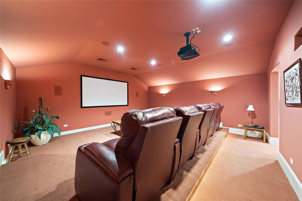 Theatre room complete with large dry bar