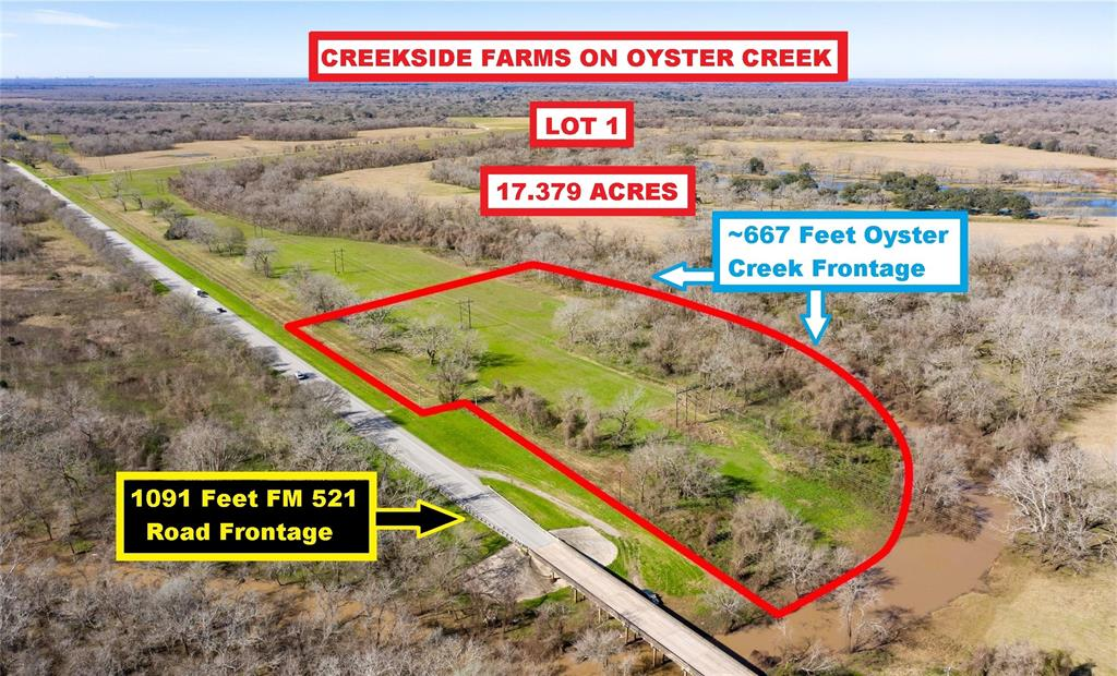 Ag Exempt! Creekside Farms On Oyster Creek Waterfront 17.379-Acre Lot With 1091 Feet FM 521 Road Frontage & ~667 Feet Creek Frontage. Located South Of FM 523 Near Hwy 288, Hwy 35 & Angleton Schools. 10-15 Minutes From Walmart, Kroger, Specs & Downtown Angleton, Yet In The Quiet Country With Room To Stretch Out. Only A Few Lots Left; Each With Road & Creek Frontage. The Lot Lies West Of Angleton, North of Bailey's Prairie & South Of Holiday Lakes (see Map). Lot Is Outside Any City Limits Or ETJ; But, There Are Some Restrictions. Survey & Restrictions In Docs. Just 5 Minutes West Of Hwy 288 & 5 Minutes North Of Hwy 35 Provides Easy Access South To Freeport Plants/Surfside Beach ~20 Miles Away And North To Downtown Houston/Hobby Airport ~40 Miles Away. No Water Or Sewer So Buyer Needs To Install Well & Septic. Seller Retains All Owned Minerals. Additional Lots Available For Sale (See Pics). Call For More Details.