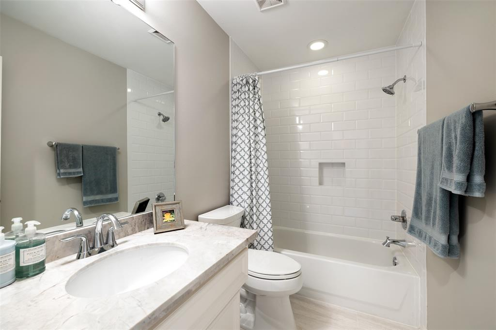 The 1st floor bathroom was updated in 2017 including new shower tiles, granite countertops, fixtures, lights, and a new toilet