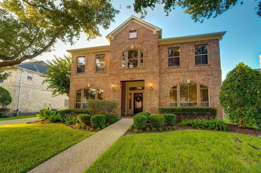 This Classic Brick Home with PRIVATE POOL & GREEN SPACE is ideally located in a cul-de-sac in the prestigious GUARDED COMMUNITY of Lakes of Parkway. If you are looking for a low-maintenance home with 5 bedrooms, this home has been meticulously maintained by the original owner, and a pool with tropical waterfall was added just 7 years ago! Built in 2002, this home already boasts double pane windows and energy efficiency, and the open floorplan is ideal for today's modern lifestyle. The HIGH CEILINGS and CROWN MOLDING create elegant living spaces, while the tile and hardwood floors are easy to maintain and flow throughout the downstairs. Kickerillo, the builder, designed this home with a family in mind, so all of the bedrooms are spacious with adjoining bathrooms, and the upstairs gameroom is the perfect gathering place for catching up on your favorite Netflix shows. Multiple lakes, walking trails, tennis courts, and community pool in this upscale community. Zoned to Bush Elementary.