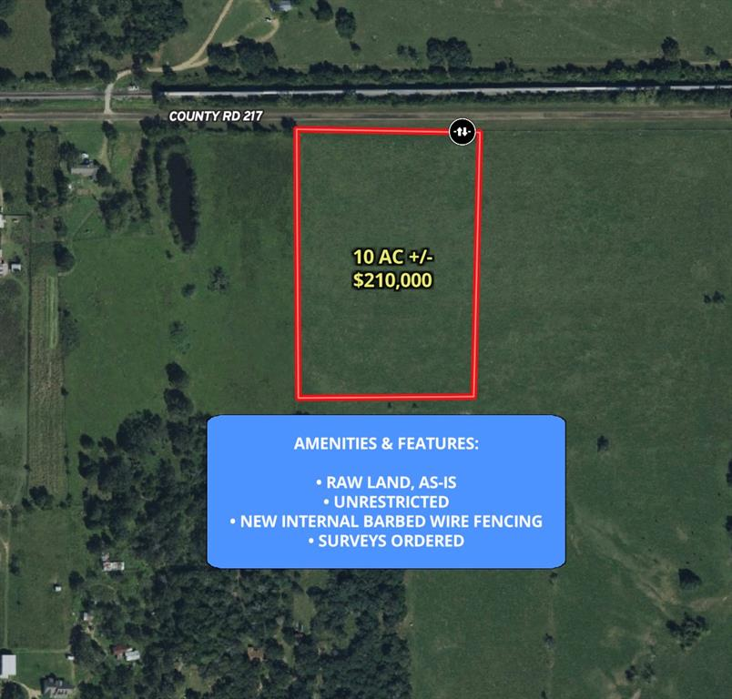 This property has no restrictions, so get ready to dream! Build an office for your business, start a farm, build an estate for your family- whatever you desire for this 10+ acre property. It is located just 10 minutes from Weimar and 10 minutes from Columbus. New interior 5 strand barbed wire fencing will be installed. Mobiles homes are welcome!