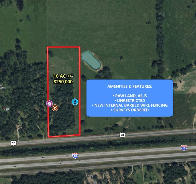 This property has no restrictions, so get ready to dream! Build an office for your business, start a farm, build an estate for your family- whatever you desire for this 10+ acre property. It is located just 10 minutes from Weimar and 10 minutes from Columbus. This property is right off the I-10 feeder (US-90). New interior 5 strand barbed wire fencing will be installed. Mobiles homes are welcome!