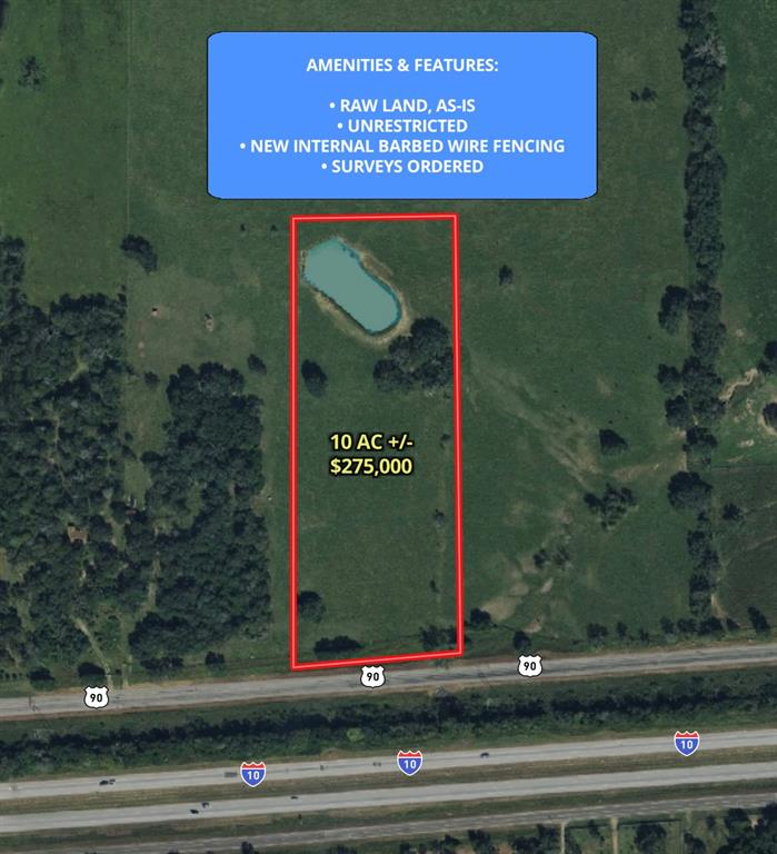 This property has no restrictions, so get ready to dream! Build an office for your business, start a farm, build an estate for your family- whatever you desire for this 10+ acre property. It is located just 10 minutes from Weimar and 10 minutes from Columbus. Property is just off the I-10 feeder. New interior 5 strand barbed wire fencing will be installed. Mobiles homes are welcome!