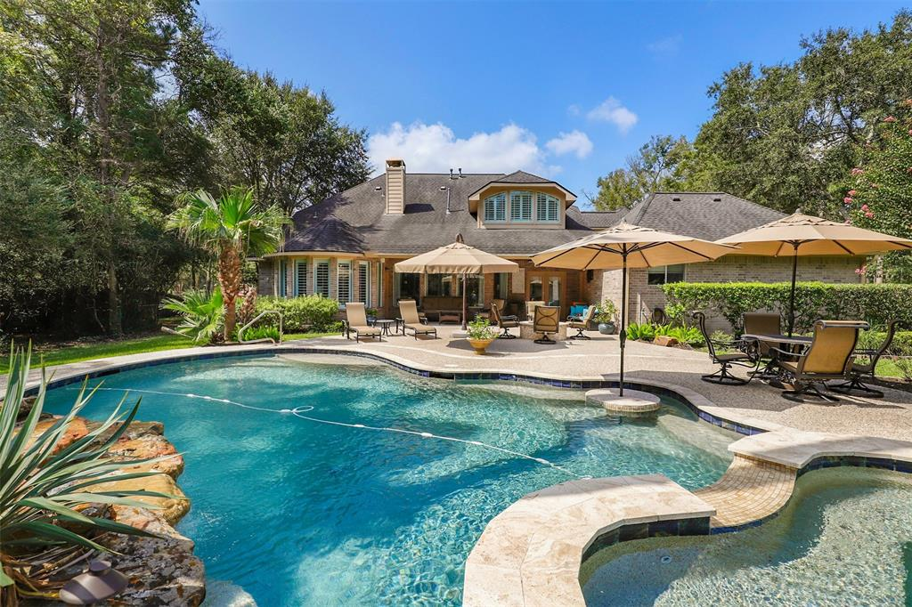 Gracing a private 1-acre golf course lot, this stunning home boasts a pool with spa and shines with custom updates throughout. Home has been meticulously maintained and delivers an appealing floor plan with a formal dining room, a dedicated office, and a living area that is open to the gourmet kitchen that offers shaker style cabinets, and Thermador appliances including an over-sized built-in refrigerator. Beautiful hand-scraped wood floors flow throughout the common areas, new front double pane windows and shutters were installed in '19. 1st-floor expansive primary bedroom with luxurious bath and custom closet.  2nd floor features a large game room with an extra sitting area, computer nook, media room/bedroom with media equipment included, and spacious split bedrooms. Garage has epoxy, AC and is insulated. Enjoy a great backyard with newly renovated pool, spa and fire pit for optimal enjoyment. Please be sure to watch the video tour & schedule your showing today!