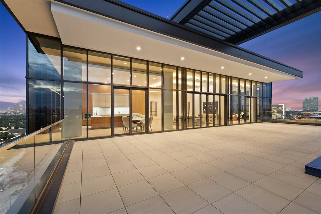Occupying the entire western half of the 19th floor with north, south and west exposure, the Penthouse at The River Oaks gives you a once in a lifetime opportunity to own the pinnacle of Houston luxury. This 6,200 square foot penthouse (with 2,206 square foot balcony) boasts sophisticated style with 13' floor-to-ceiling glass walls throughout filled with abundant sunshine entering the north-facing great room, dining and study viewing the River Oaks and downtown Houston. The kitchen opens onto the abundant terrace with glass doors enhancing sunsets and spectacular unobstructed views. The River Oaks provides a level of class nestled on three-acres of pristine landscaping. Live the lifestyle with an exceptional 24-hour concierge and doorman, gracious pool, soaking tub, private guest suites, pet-grooming spa, dog park, message room, yoga/Pilates studio and state-of-the-art fitness center. Call today for a private viewing.