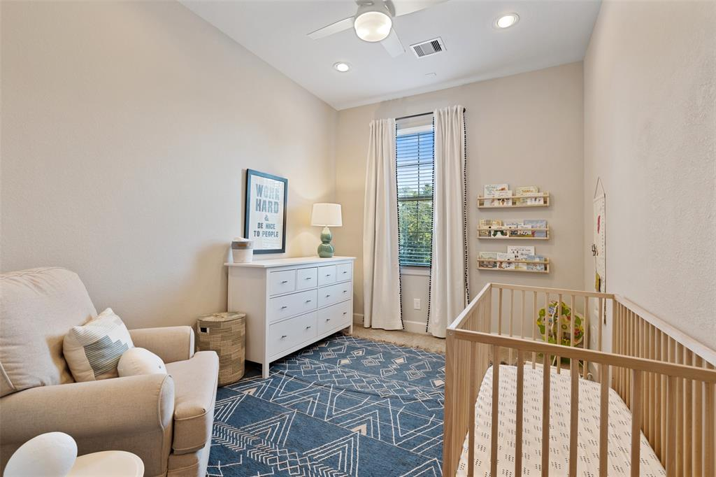 The third bedroom is located on the third floor. All three bedrooms feature a private, en suite bathroom.