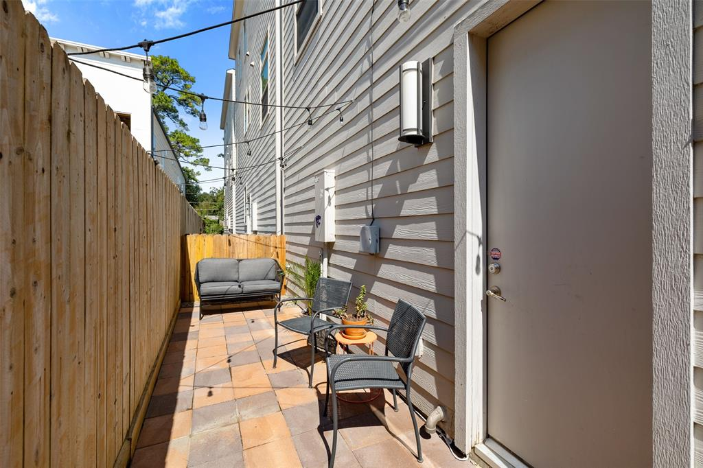 This recently paved back patio space is a great space to enjoy a gorgeous afternoon with a book or for outdoor grilling on the weekend.