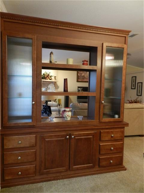Beautiful China Cabinet T In Formal Dining Room Is Set Into The Wall As A Divider For Open Concept Living Cherry Wood Custom Cabinets